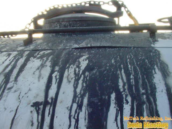 tar removal with soda blasting